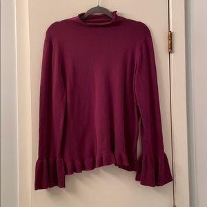 Neiman Marcus Purple Bell Sleeve Sweater